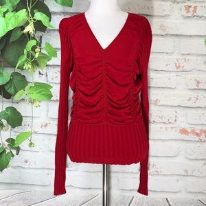 🌷BCBGMAXAZRIA Red V-Neck Sweater Top🌷